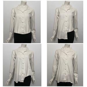 Eileen Fisher White Collar Button Up Shirt